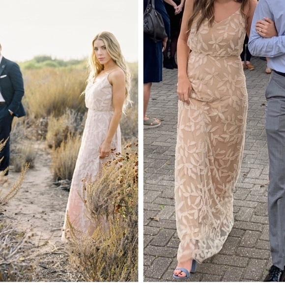 Wayf Savannah Beige Sequin Sleeveless Maxi Dress